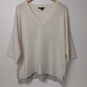 Vince Ivory Cashmere V Neck Pull Over Sweater PS